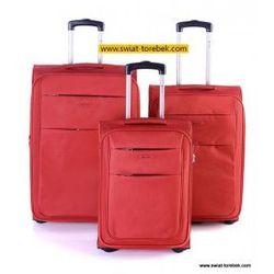 67e7d36158c64 Komplet walizek PUCCINI kolekcja CAMERINO zestaw duża + średnia + mała/  kabinowa 2 koła materiał