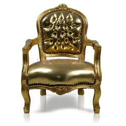 Dziecięcy fotelik, ekologiczna skóra w złotym kolorze, konstrukcja drewniana, pokryta płatkami złota.