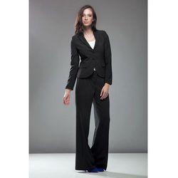 Czarne Eleganckie Spodnie z Szerokimi Nogawkami