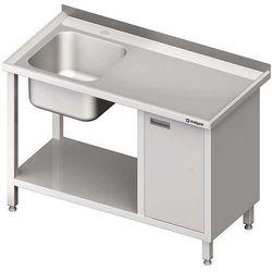 Stół ze zlewem jednokomorowym z szafką i półką STALGAST 1900x600x850 lewy
