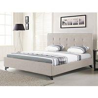 Nowoczesne łóżko tapicerowane ze stelażem 180x200 cm beżowe AMBASSADOR