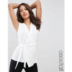ASOS TALL Sleeveless Obi Wrap Blouse - White