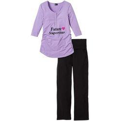 Piżama ciążowa (2 części) bonprix kolor bzu - czarny