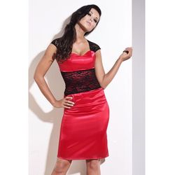 Ekskluzywna sukienka z koronkowym pasem - IVON - 118