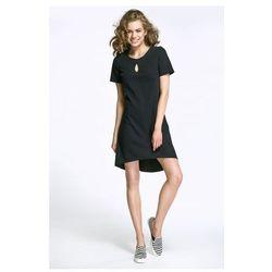 Sukienka z łezką na dekolcie i dłuższym tyłem - czarny - AL29
