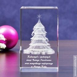 Choinka 3D w szklanej statuetce + Twoje osobiste życzenia GRATIS