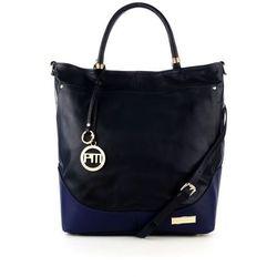 Granatowa skórzana shopper bag