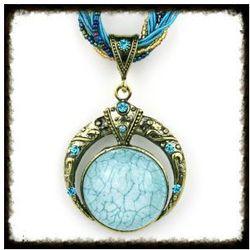 Naszyjnik z okrągłym kamieniem, błękitny. Kolekcja Dalia