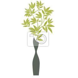 Naklejka Nowoczesny wazon z bambusa oddziałów