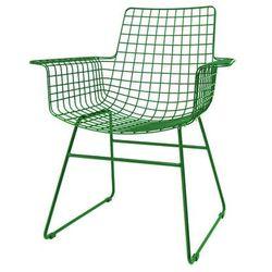 HK Living Krzesło metalowe WIRE zielone z podłokietnikami FUR0026