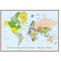 Naklejka Szczegółowa Mapa Świata polityczna