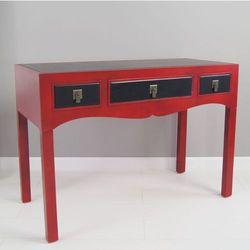 Sekretarzyk, biurko w stylu azjatyckim, trzy szuflady, metalowe okucia, kolor czerwono-czarny.