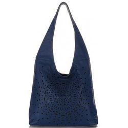 621be4965155c Modne Ażurowe Torebki Skórzane Vittoria Gotti Made in Italy Niebieskie  (kolory)