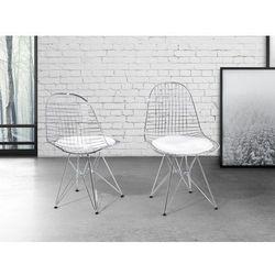 Krzeslo srebrnobiale - do jadalni - do kuchni - chromowane - MULBERRY