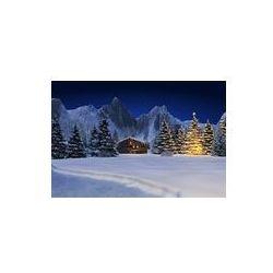 Foto naklejka samoprzylepna 100 x 100 cm - Śnieg krajobraz z domku