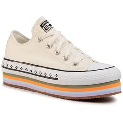 Trampki CONVERSE - Ctas Platform Layer Ox 567847C Egret/Total Orange/Gum