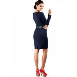 Sukienka ołówkowa z ćwiekami MOE043 granatowa