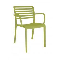 Krzesło kawiarniane z podłokietnikami z tworzywa Resol Lama oliwkowe