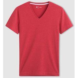 T-shirt gładki, dekolt w serek, krótki rękaw