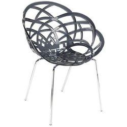Designerskie krzesło na taras hotelowy Papatya Flora ML czarne przezroczyste