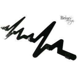 Wieszak na ubrania EKG z haczykami, czarny połysk by Briso-desing