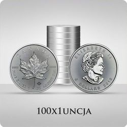 Kanadyjski Liść Klonowy 1 uncja srebra x 100