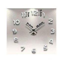 Duży nowoczesny zegar na ścianę srebrne cyfry