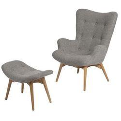 Fotel z podnóżkiem Contour - szary