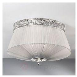 Stylowa lampa sufitowa z materiału ILAN, srebrna