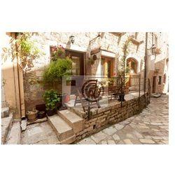 Fototapeta ulica starego miasta ozdobione garnki i kwiaty