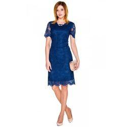 Sukienka z granatowej koronki - Bialcon