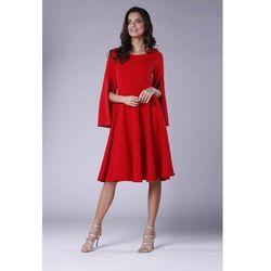 b6b6506bad suknie sukienki szykowna czerwona plisowana sukienka midi z dlugim ...