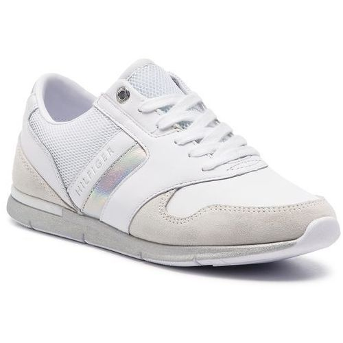 f7b3f306879ad Sneakersy TOMMY HILFIGER - Iridescent Light Sneaker FW0FW04100 White Silver  902