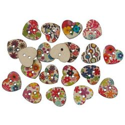 Wood Sewing Button Scrapbooking Heart Mixed 2 Holes Flower Pattern 15.0mm( 5/8