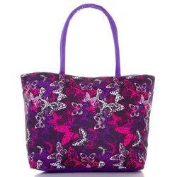 52fc339b1558c Torba plażowa damska kolorowe motyle - fioletowy ||cyklamen ||liliowy  ||czarny