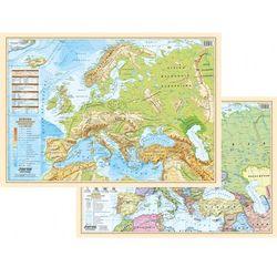 Dwustronna mapa ścienna Europy polityczna/fizyczna A2 + zakładka do książki GRATIS