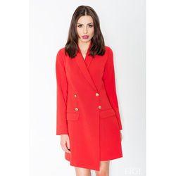 Czerwona Szykowna Sukienka Płaszczowa ze Złotymi Guzikami