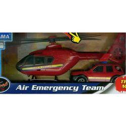 Helikopter i samochód Straży Pożarnej z dźwiękiem czerwony 1:48