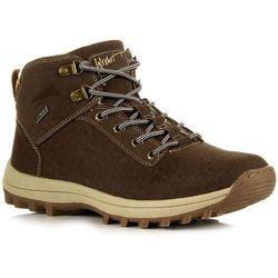 Brązowe buty zimowe męskie trapery trekkingowe ocieplane WISHOT - brązowy