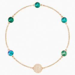 Swarovski Remix Collection Green Strand, Multi-colored, Rose-gold tone plated