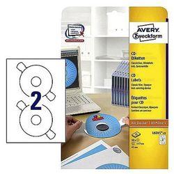 Etykiety samoprzylepne na płyty CD/DVD białe matowe Avery Zweckform L6015-25