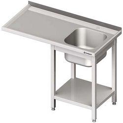 Stół ze zlewem jednokomorowym i miejscem na urządzenie STALGAST 1400x600x900 prawy