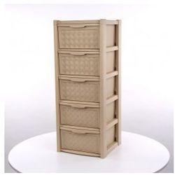 Regał szafka komoda Arianna 5 szuflad beż