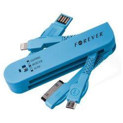 Kabel USB Forever 3w1 Apple iPhone 3 / 4 30pin + Apple iPhone 5 / 6 8pin lightning + microUSB niebieski