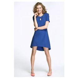 Sukienka z łezką na dekolcie i dłuższym tyłem - niebieski - AL29