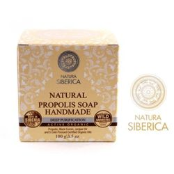 Natura Siberica - naturalne mydło propolisowe - głębokie oczyszczenie - propolis, olej z rokitnika ałtajskiego, olejek jałowcowy, 5 organicznych olei z zimnego tłoczenia (Bez Parabenów, SLS, SLES, PEG)
