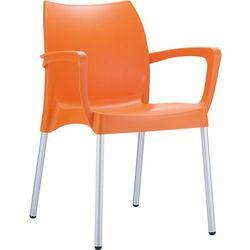 Krzesło z podłokietnikami ogrodowe z tworzywa kontraktowe Dolce pomarańczowe