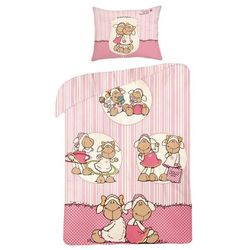 Halantex Pościel bawełniana dla dzieci Owieczka pink, 160 x 200 cm, 70 x 80 cm