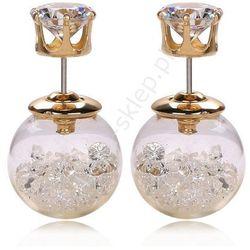 Kolczyki kule z kryształkami | kolczyki dwustronne