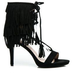 Brigitte - czarne sandałki w stylu BOHO - czarny